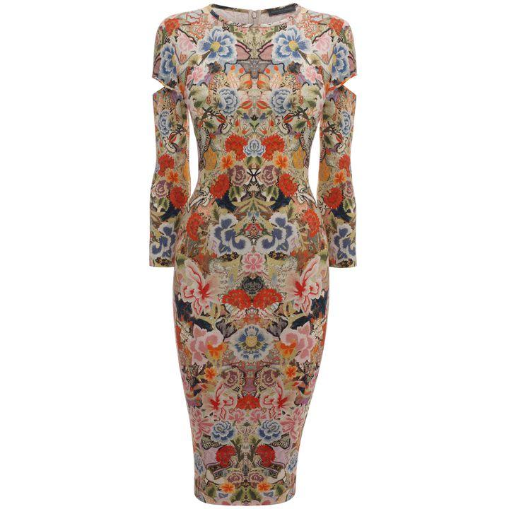 Alexander McQueen, Patchwork Floral Slash Sleeve Pencil Dress
