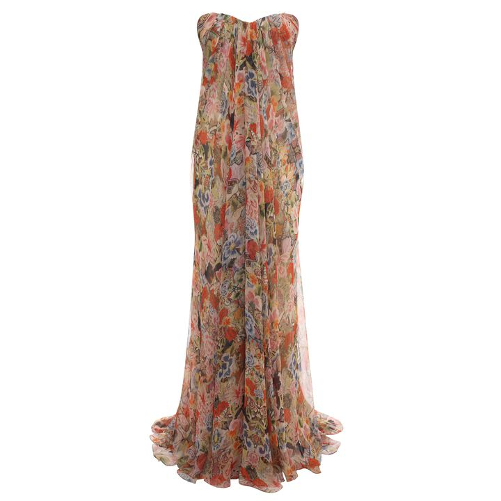Alexander McQueen, Patchwork Floral Draped Bustier Gown