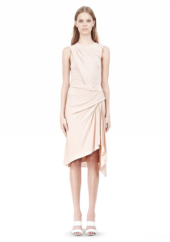 ALEXANDER WANG TWISTED DRAPE FRONT SLEEVLESS DRESS Short Dress Adult 12_n_f