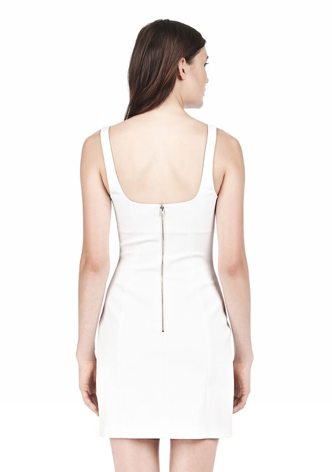 T by ALEXANDER WANG DOUBLE FACE STRETCH COTTON SQUARE NECK DRESS Short Dress Adult 12_n_d