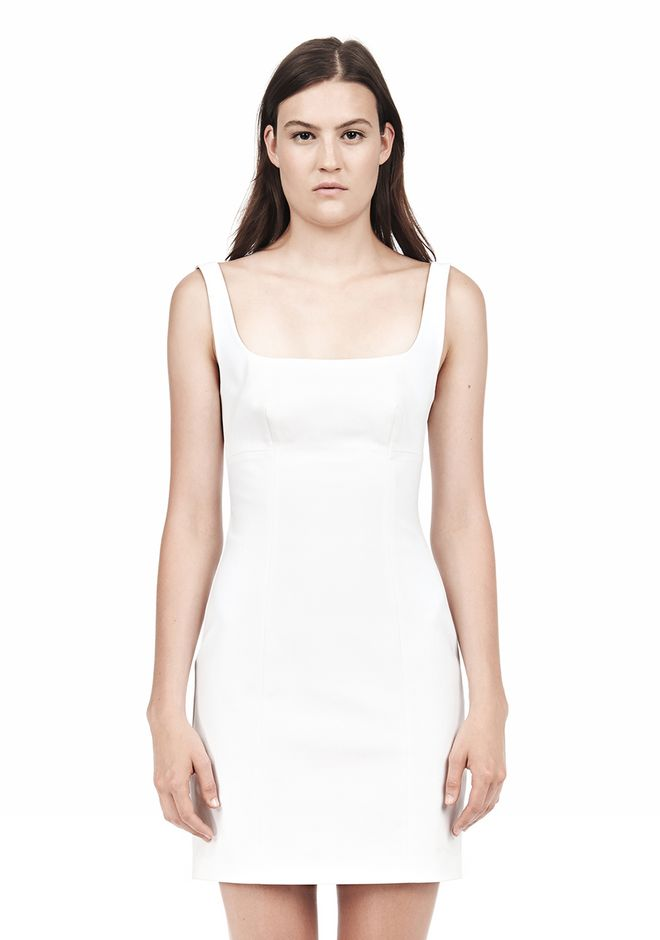 T by ALEXANDER WANG DOUBLE FACE STRETCH COTTON SQUARE NECK DRESS Short Dress Adult 12_n_e