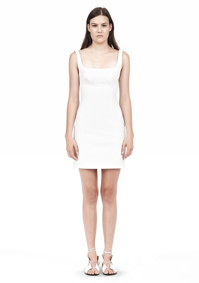 T by ALEXANDER WANG DOUBLE FACE STRETCH COTTON SQUARE NECK DRESS