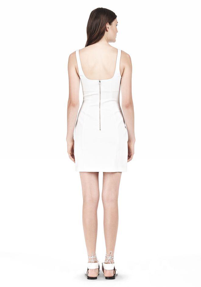 DOUBLE FACE STRETCH COTTON SQUARE NECK DRESS