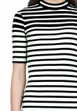 COMPACT COTTON ENGINEERED STRIPE SHORT SLEEVE DRESS