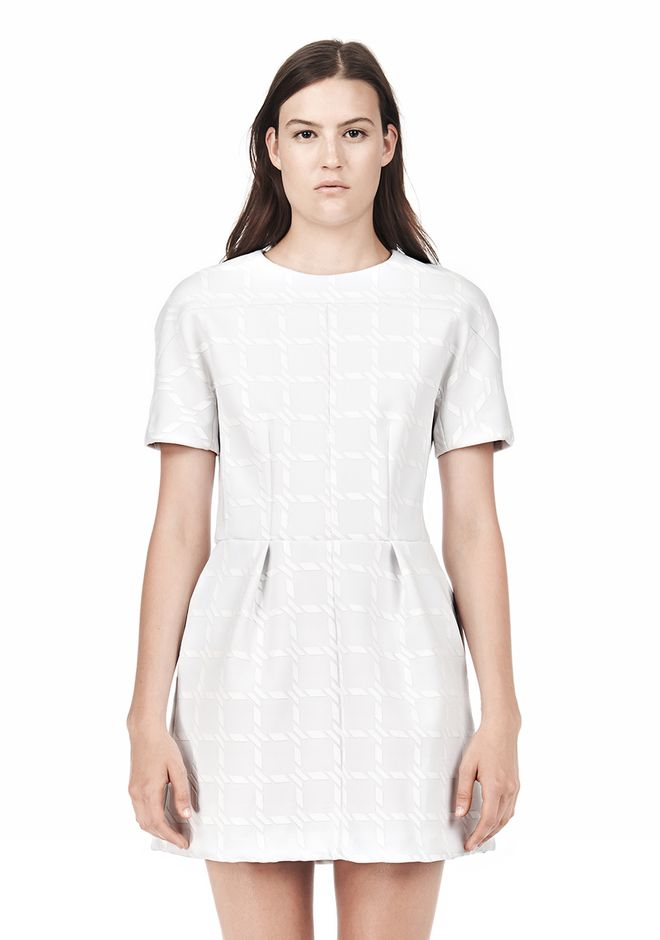 T by ALEXANDER WANG GRID PRINT NEOPRENE SHORT SLEEVE DRESS Short Dress Adult 12_n_d