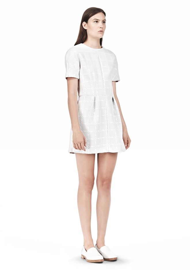 T by ALEXANDER WANG GRID PRINT NEOPRENE SHORT SLEEVE DRESS Short Dress Adult 12_n_e