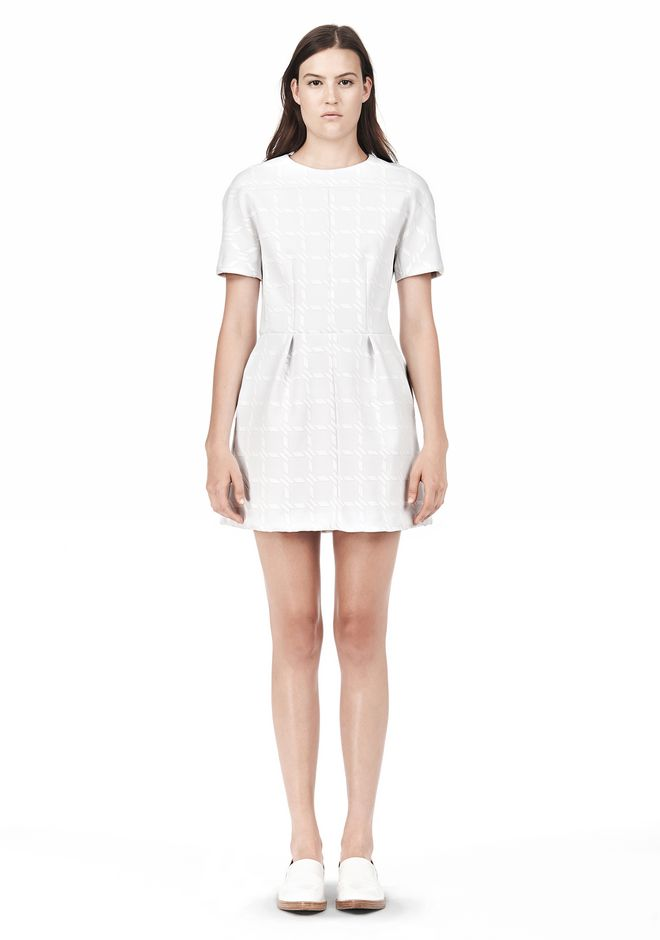 T by ALEXANDER WANG GRID PRINT NEOPRENE SHORT SLEEVE DRESS Short Dress Adult 12_n_f
