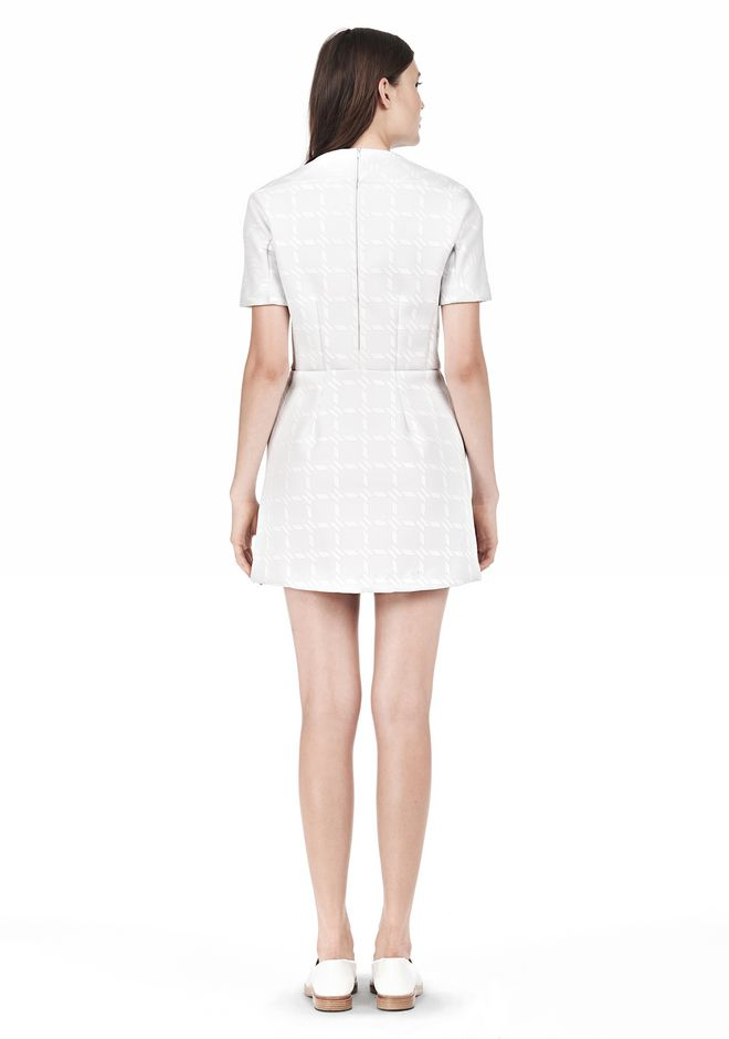 T by ALEXANDER WANG GRID PRINT NEOPRENE SHORT SLEEVE DRESS Short Dress Adult 12_n_r