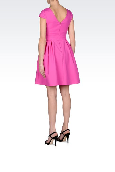 STRETCH COTTON DRESS WITH TWIST DETAIL: Short Dresses Women by Armani - 3