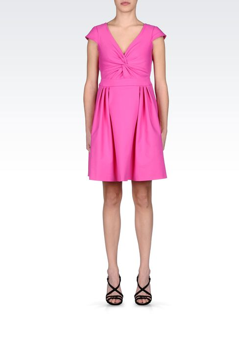 STRETCH COTTON DRESS WITH TWIST DETAIL: Short Dresses Women by Armani - 1