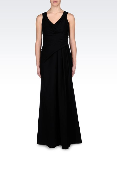 LONG DRAPED DRESS IN CADY: Long dresses Women by Armani - 1