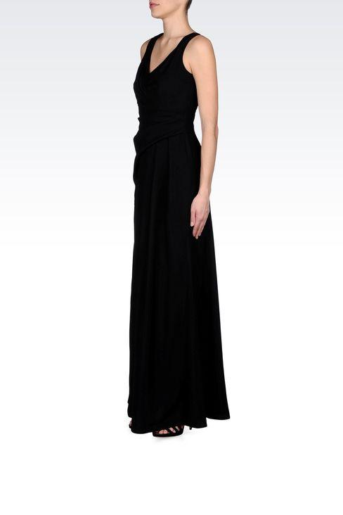 LONG DRAPED DRESS IN CADY: Long dresses Women by Armani - 2