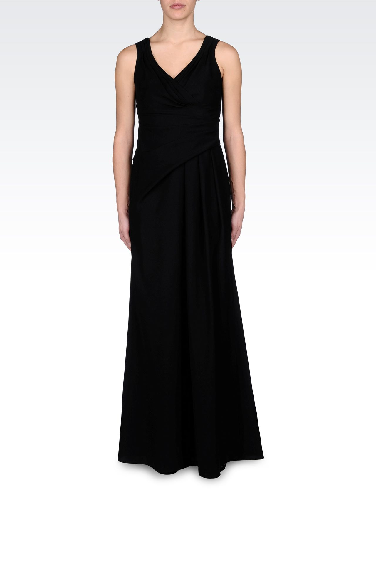 LONG DRAPED DRESS IN CADY: Long dresses Women by Armani - 0