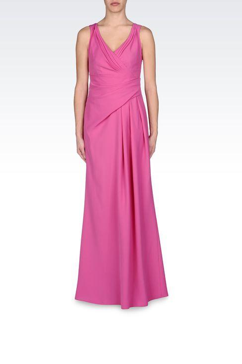LONG DRAPED DRESS IN CADY: Long dresses Women by Armani - 1