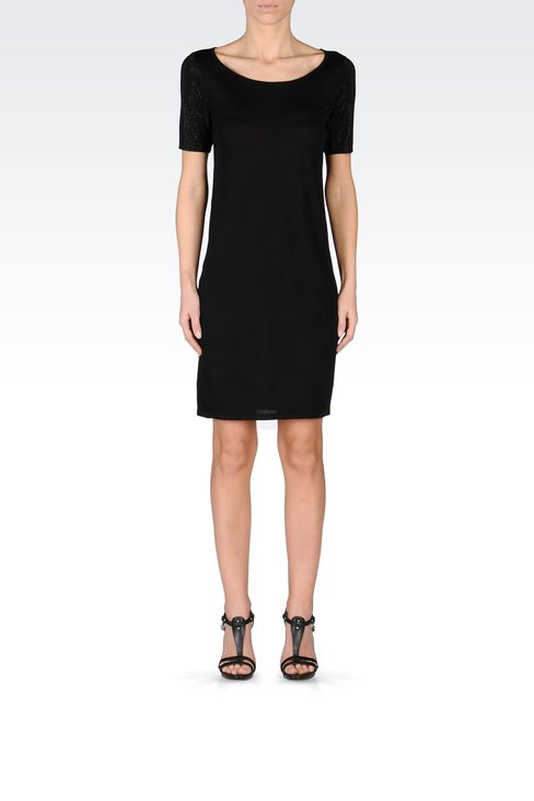 VISCOSE DRESS WITH EMBELLISHED SLEEVES: Short Dresses Women by Armani - 1