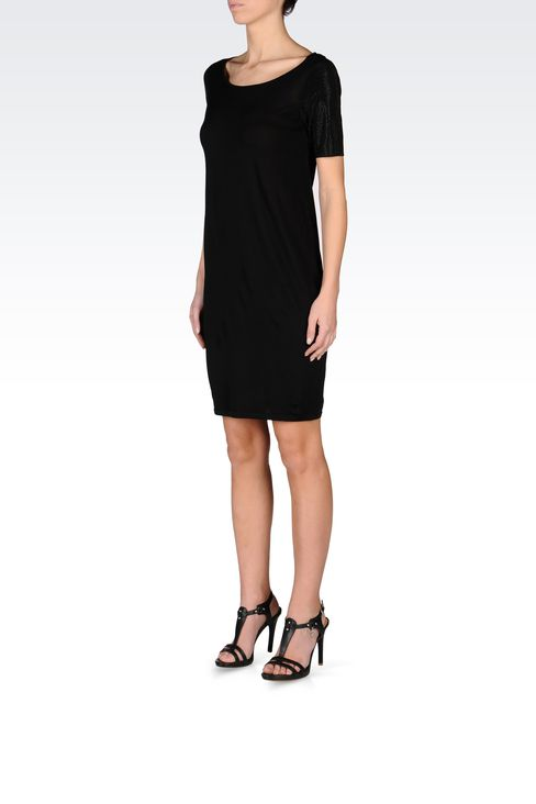 VISCOSE DRESS WITH EMBELLISHED SLEEVES: Short Dresses Women by Armani - 2