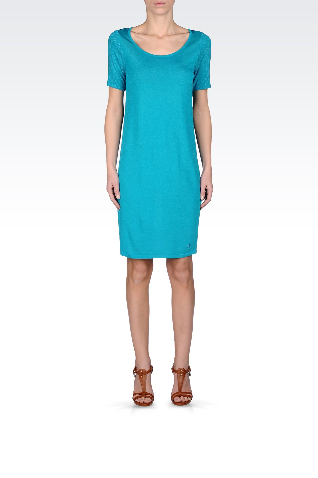 VISCOSE DRESS WITH EMBELLISHED SLEEVES: Short Dresses Women by Armani - 0