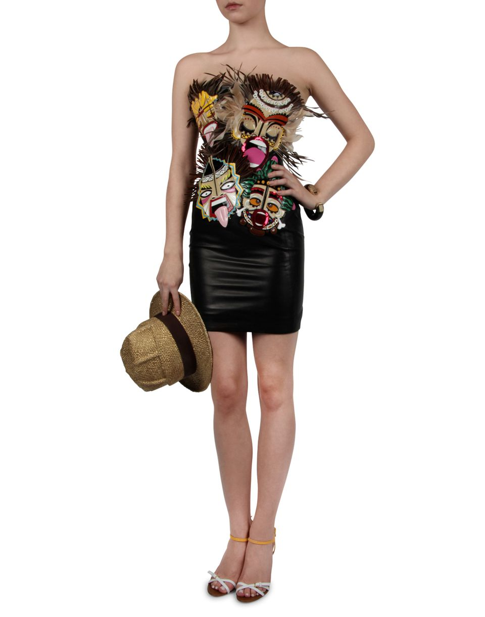 tribal couture leather dress dresses Woman Dsquared2