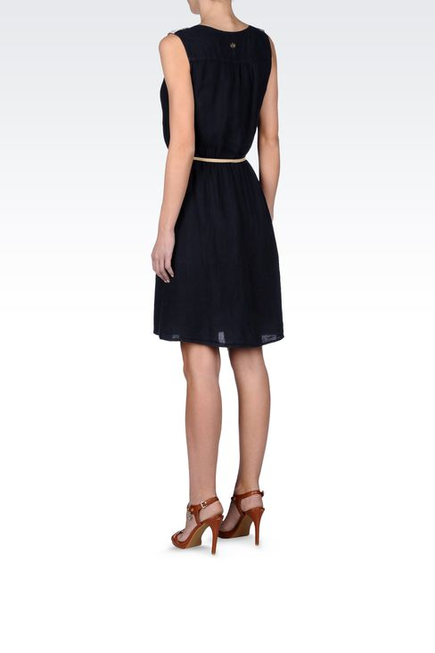 LINEN DRESS WITH BELTED WAIST: Short Dresses Women by Armani - 3