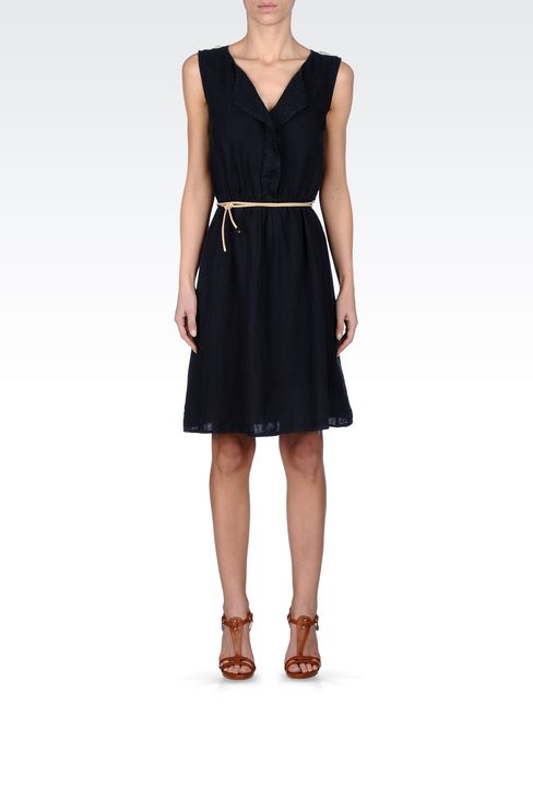 LINEN DRESS WITH BELTED WAIST: Short Dresses Women by Armani - 1