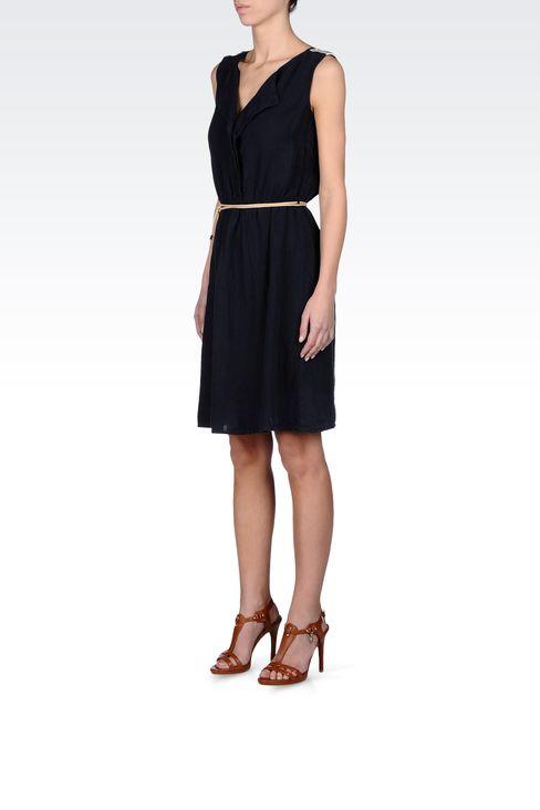 LINEN DRESS WITH BELTED WAIST: Short Dresses Women by Armani - 2