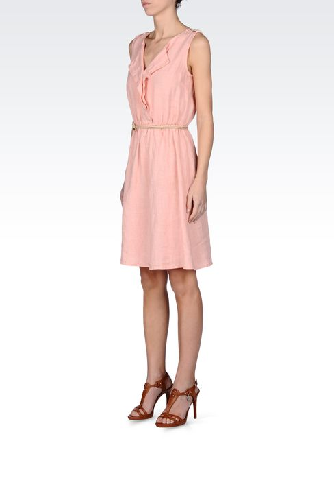 LINEN DRESS WITH BELTED WAIST: Short Dresses Women by Armani - 2