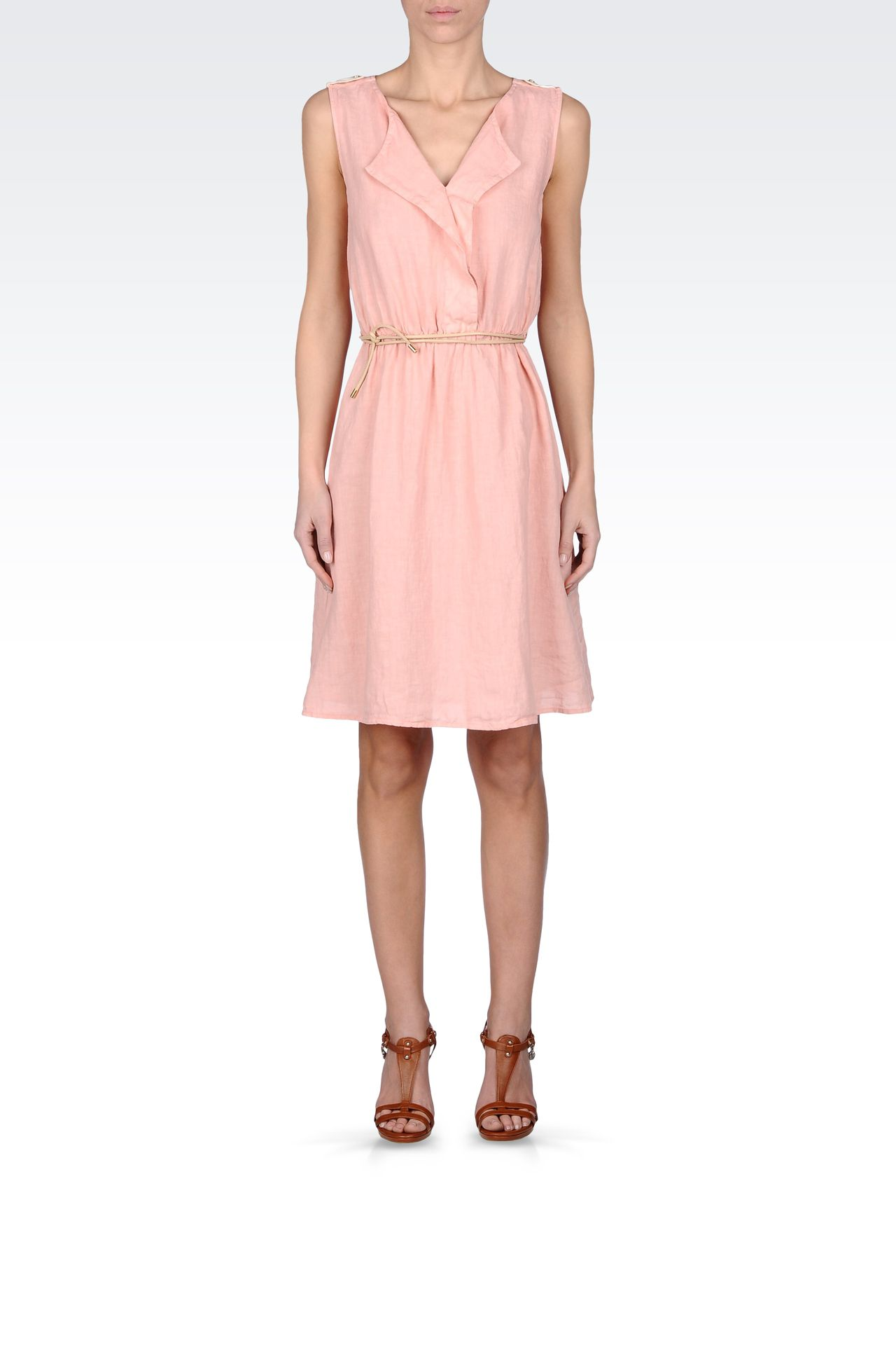 LINEN DRESS WITH BELTED WAIST: Short Dresses Women by Armani - 0