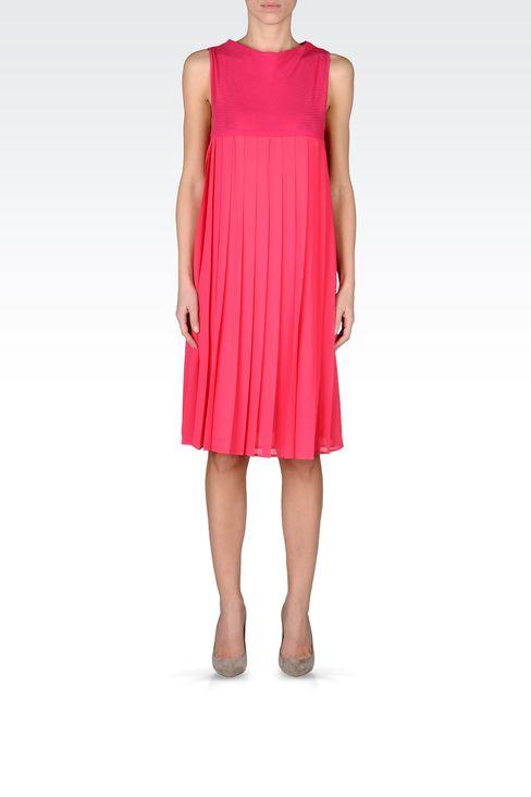 PLEATED DRESS IN CHEVRON COTTON: Short Dresses Women by Armani - 1