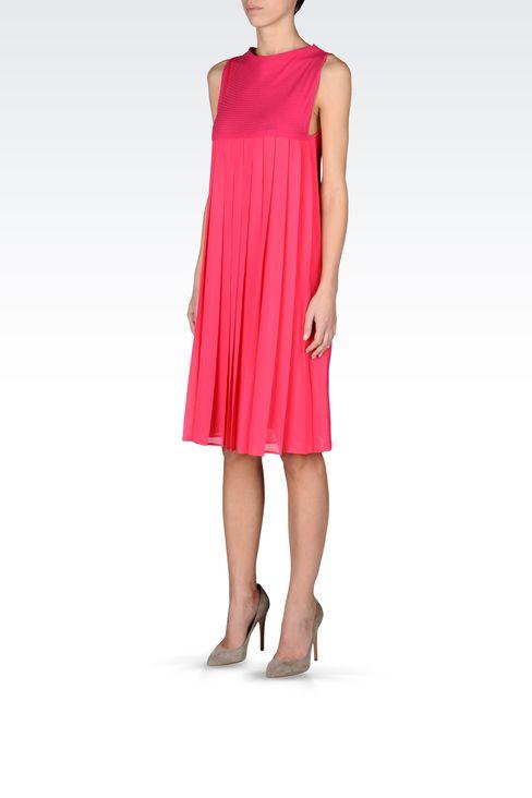 PLEATED DRESS IN CHEVRON COTTON: Short Dresses Women by Armani - 2