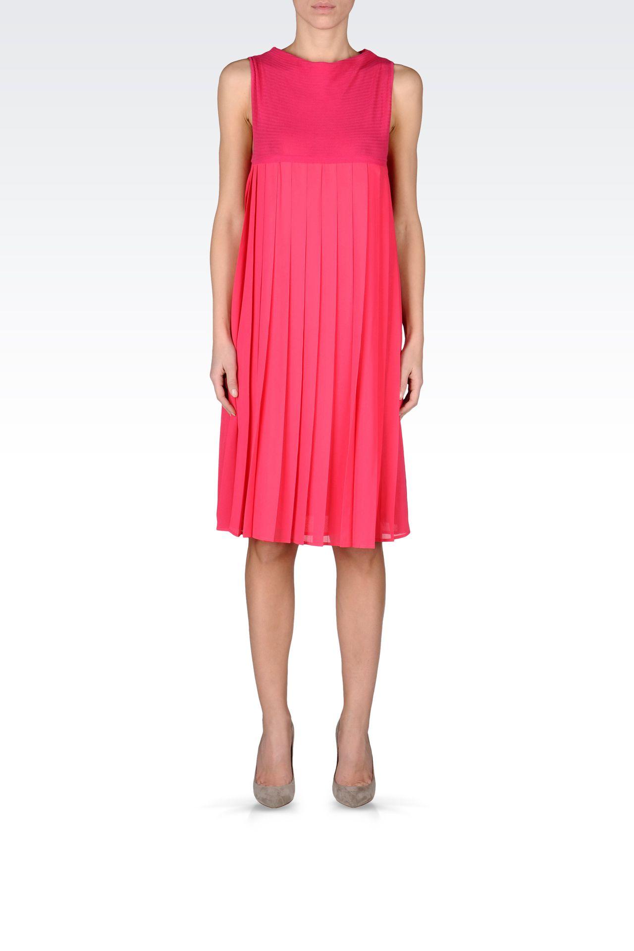 PLEATED DRESS IN CHEVRON COTTON: Short Dresses Women by Armani - 0