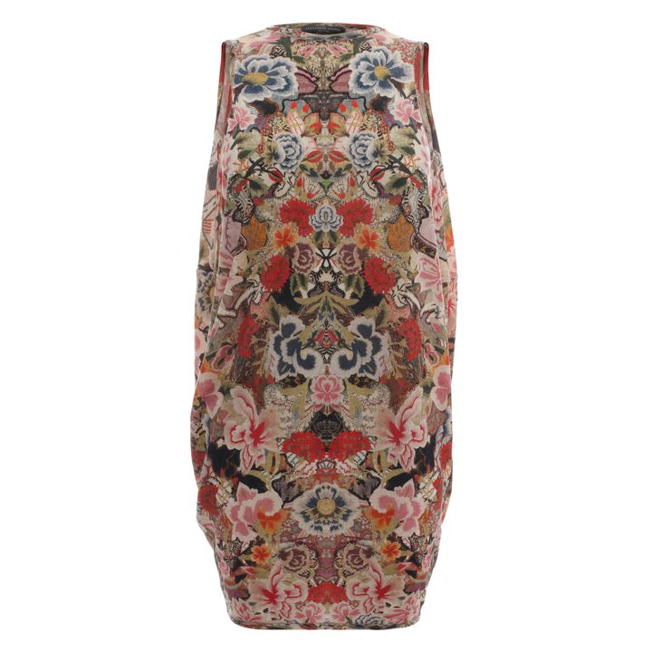 Alexander McQueen, Patchwork Floral Draped Back Mini Dress