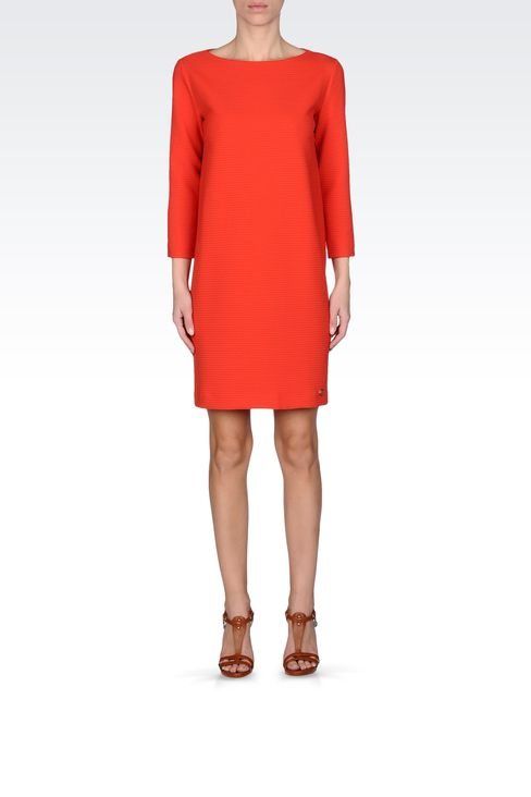 THREE-QUARTER SLEEVE DRESS IN TECHNICAL FABRIC: Short Dresses Women by Armani - 1