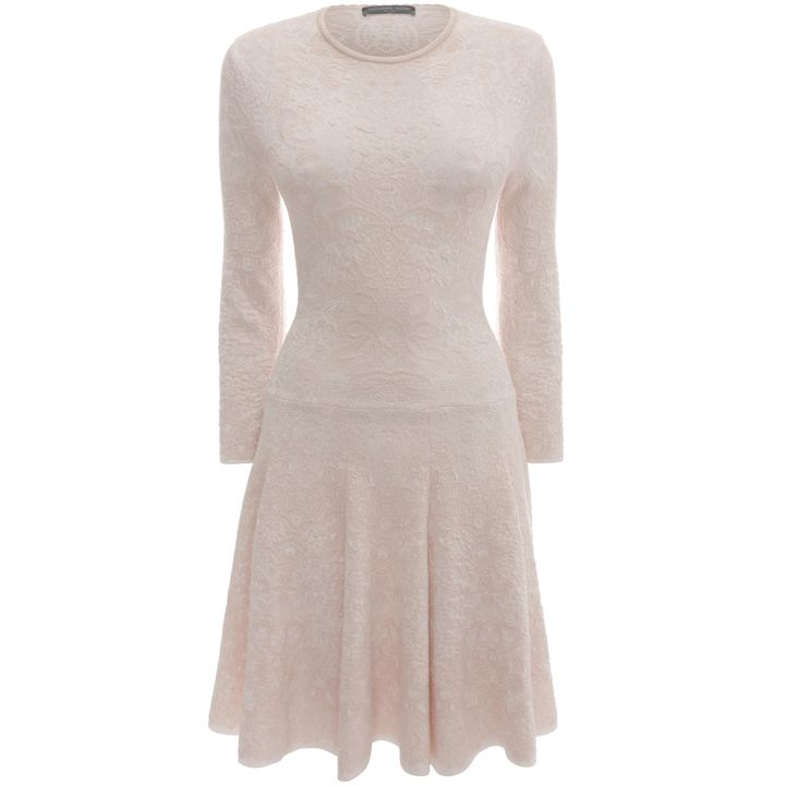Alexander McQueen, Spine Lace Crochet Jacquard Knit Dress