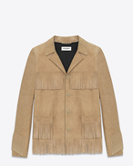 CLASSIC CURTIS FRINGE JACKET IN Beige LEATHER