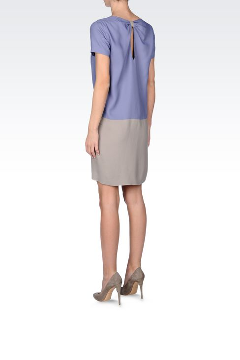 TWO-TONE CRÊPE DRESS: Short Dresses Women by Armani - 3