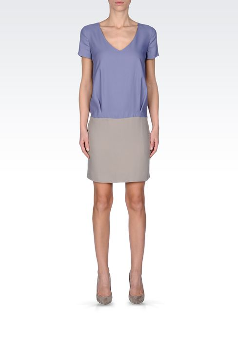 TWO-TONE CRÊPE DRESS: Short Dresses Women by Armani - 1
