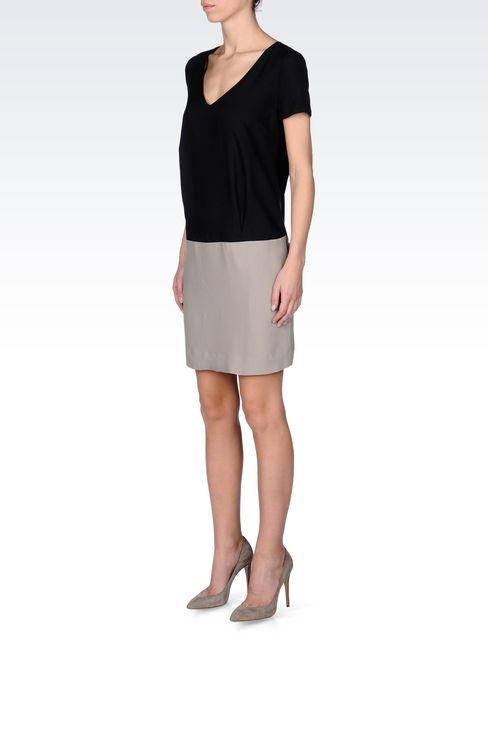 TWO-TONE CRÊPE DRESS: Short Dresses Women by Armani - 2