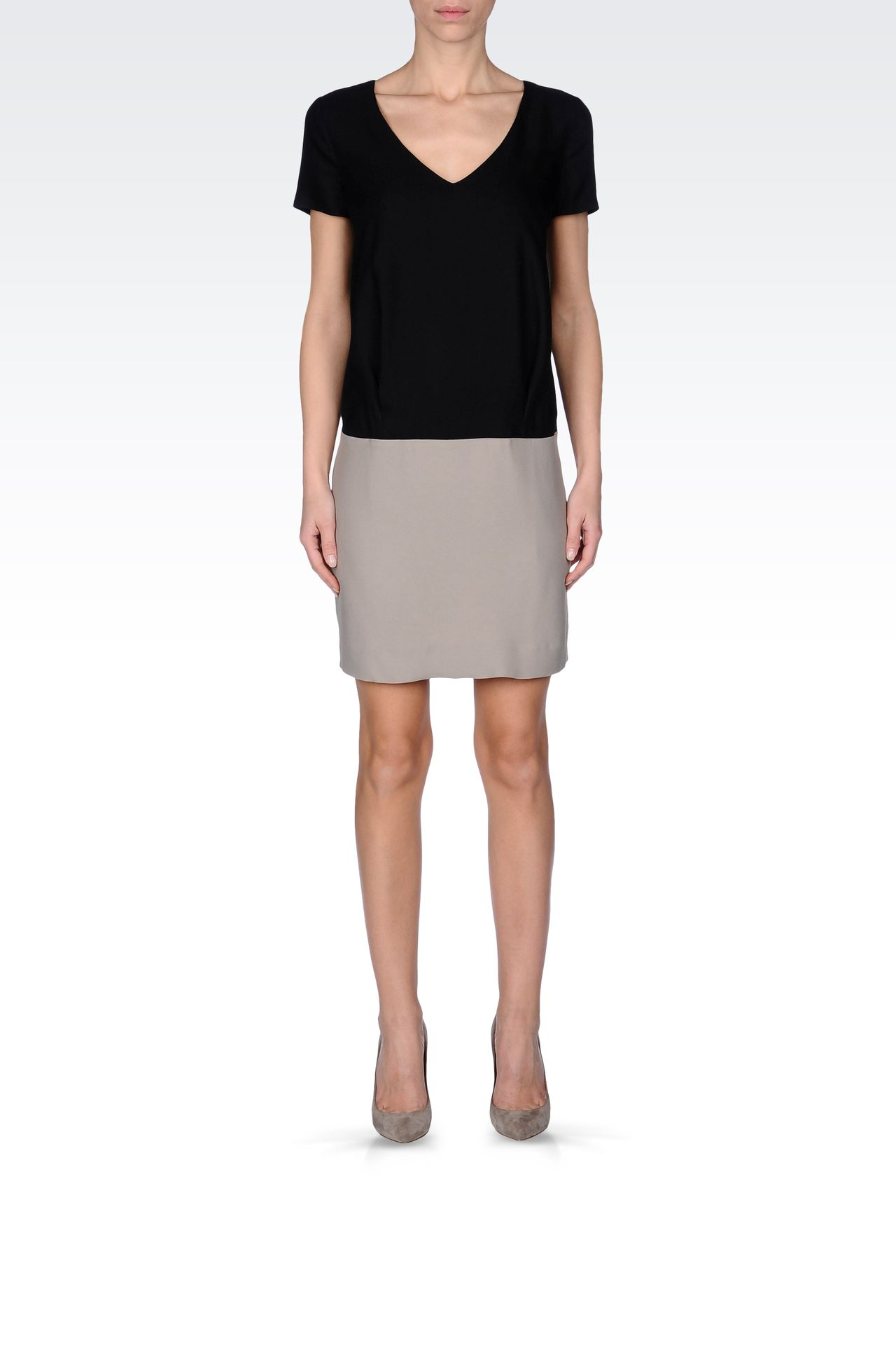TWO-TONE CRÊPE DRESS: Short Dresses Women by Armani - 0
