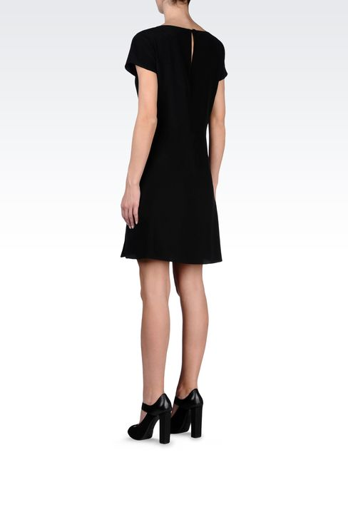 SILK POPLIN DRESS WITH TWO-COLOR DETAILS: Short Dresses Women by Armani - 3