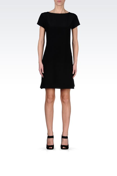 SILK POPLIN DRESS WITH TWO-COLOR DETAILS: Short Dresses Women by Armani - 1