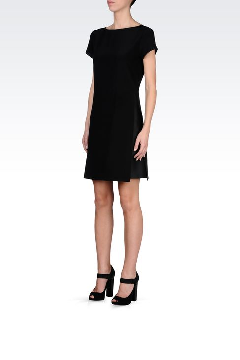 SILK POPLIN DRESS WITH TWO-COLOR DETAILS: Short Dresses Women by Armani - 2