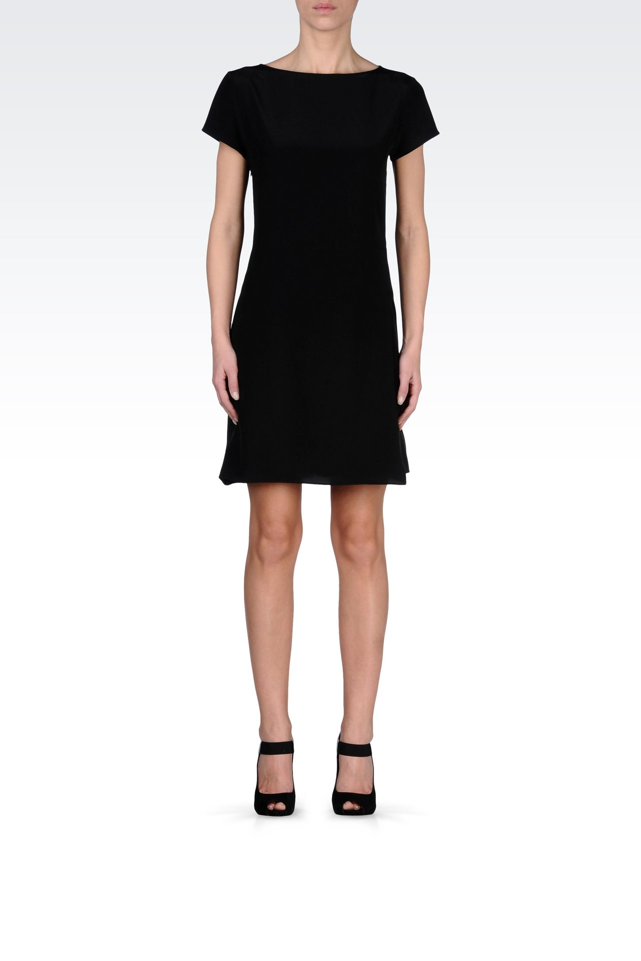 SILK POPLIN DRESS WITH TWO-COLOR DETAILS: Short Dresses Women by Armani - 0