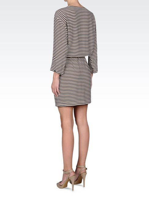 NAVY DRESS IN STRIPED VISCOSE CRÊPE: Short Dresses Women by Armani - 3