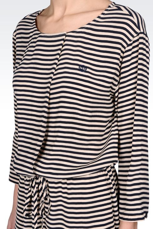 NAVY DRESS IN STRIPED VISCOSE CRÊPE: Short Dresses Women by Armani - 4