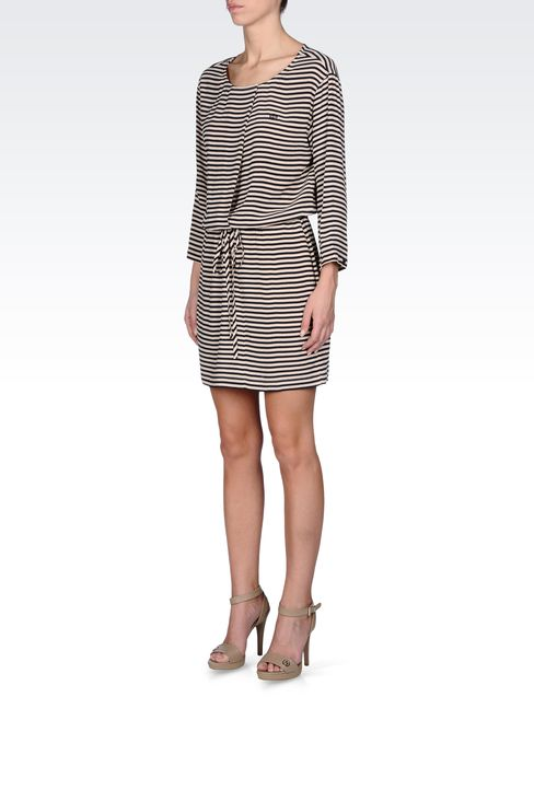 NAVY DRESS IN STRIPED VISCOSE CRÊPE: Short Dresses Women by Armani - 2