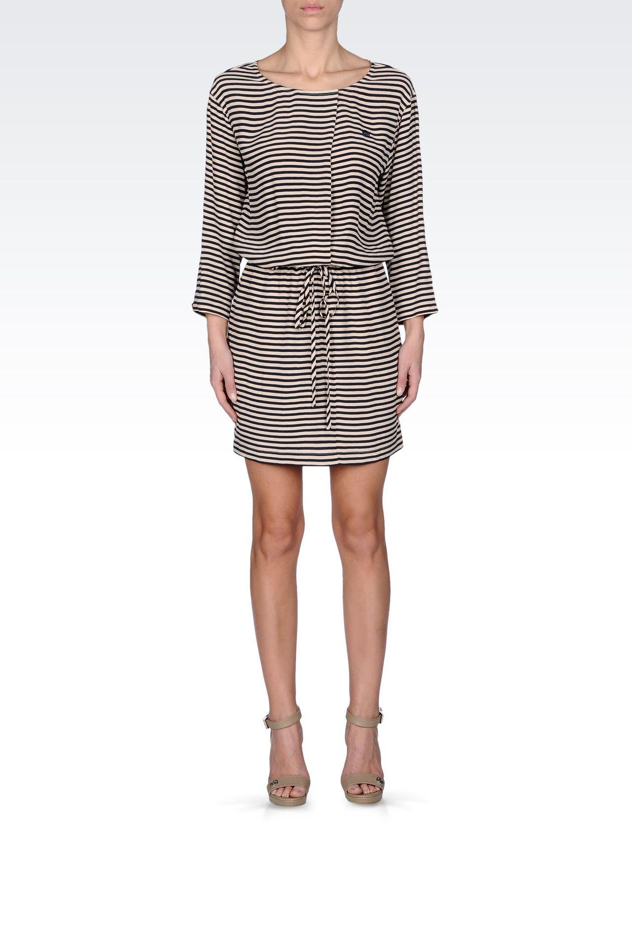 NAVY DRESS IN STRIPED VISCOSE CRÊPE: Short Dresses Women by Armani - 0