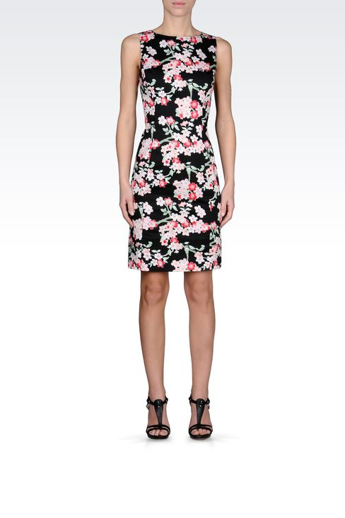 COTTON SHEATH DRESS WITH FLORAL PATTERN: Short Dresses Women by Armani - 1