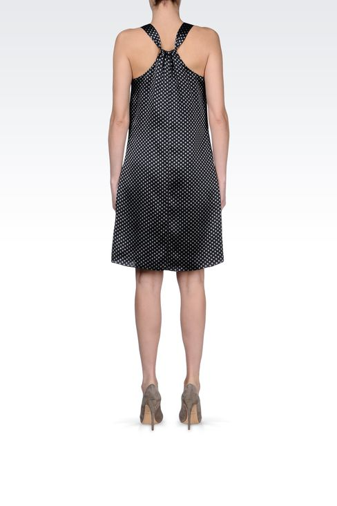 DRESS IN POLKA DOT PATTERNED SILK : Short Dresses Women by Armani - 3