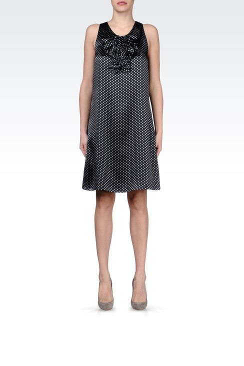 DRESS IN POLKA DOT PATTERNED SILK : Short Dresses Women by Armani - 1