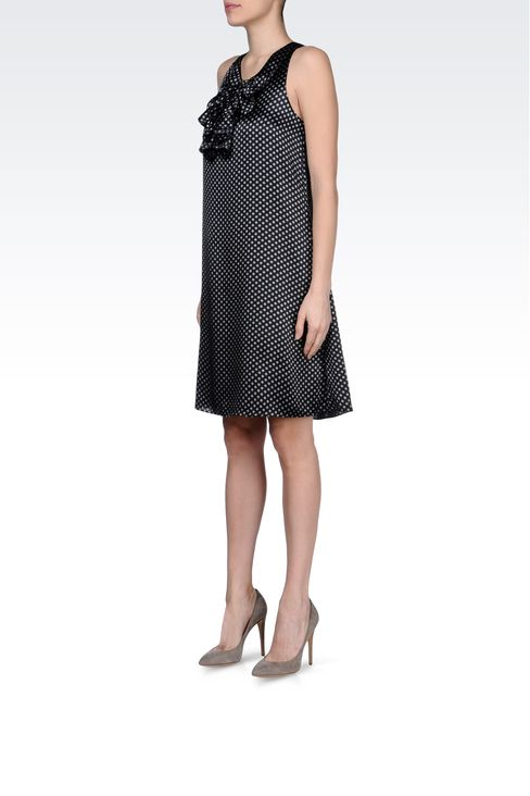 DRESS IN POLKA DOT PATTERNED SILK : Short Dresses Women by Armani - 2